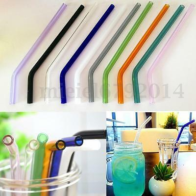 "7.08"" 8mm Reusable Colorful Bend Glass Drinking Thick Straws Wedding Party"