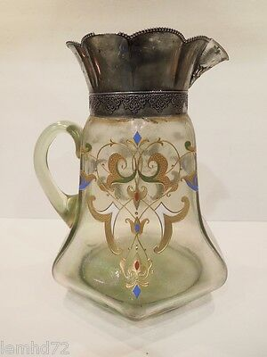 Bohemian Pitcher jug Glass SILVER PLATED ANTIQUE 1890 - 1910 ITALIAN RENASCENCE