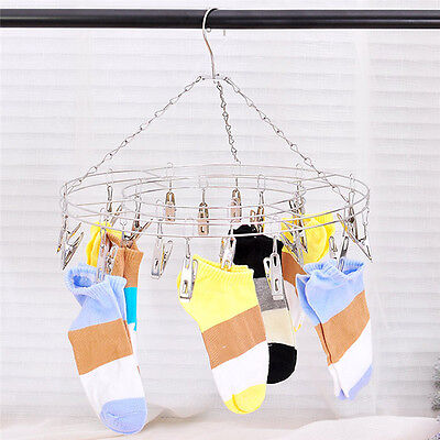 Good 20 Clips Stainless Steel Clothes Sock Underwear Swimwear Hanger Airer Dryer