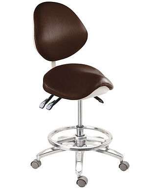 Deluxe Dental Mobile Chair Saddle Doctors Stool Micro Fiber Leather with Circle