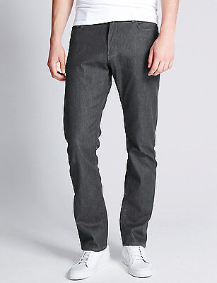 Ex M&S Marks and Spencer Men's Black Charcoal Stretch Jeans Straight Leg RRP £35