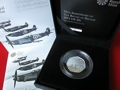 75th Ann. of the Battle of Britain 2015 UK 50p Silver Proof Piedfort Coin