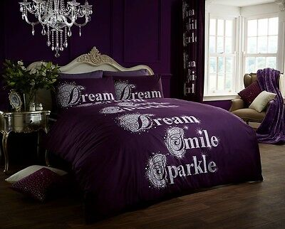 New Luxury Printed Duvet Cover Quilt Cover Modern Sparkle Aubergine KING Size