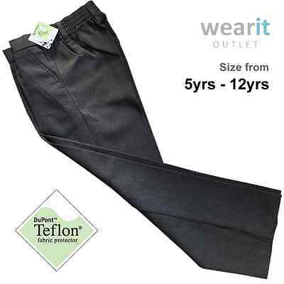 Boys Kid Children Half Elastic Pull Up School Uniform Trousers Teflon Protector