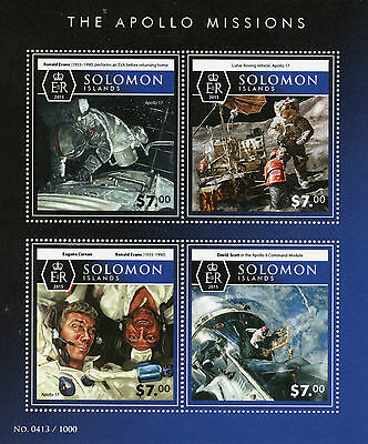 Solomon Islands 2015 MNH Apollo Missions 4v M/S Space Ronald Evans Eugene Cernan