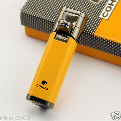 Cohiba Yellow Cylinder Style Metal 3 Torch Jet Flame Cigar Lighter W/ Punch