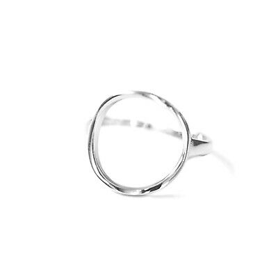 Solid 925 Sterling Silver Bright Simple 12mm Circle Round Open Band Ring UK N