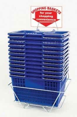 NEW 12 Standard Shopping Baskets - Chrome Handles - Metal Stand and Sign - Blue