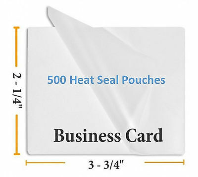 "Premium 5 Mil Business Card Size Heat Seal Laminating Pouches 500 2.25"" x 3.75"""
