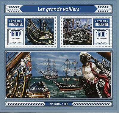 Togo 2015 MNH Tall Ships 2v S/S Sailing Ships Boats HMS Trincomalee Stamps