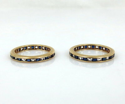 Vintage Pair of 3.0ct Square Cut Diamond & Sapphire 14K Gold Bands