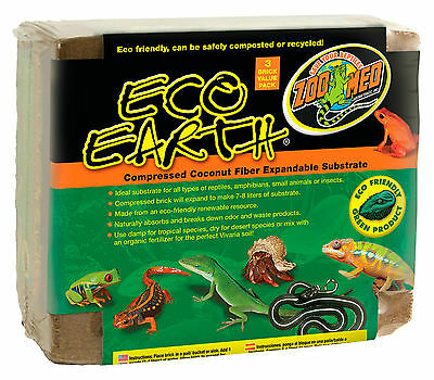 Zoo Med Eco Earth Reptile Substrate 3 Bricks Per Pack Super Value Free Post