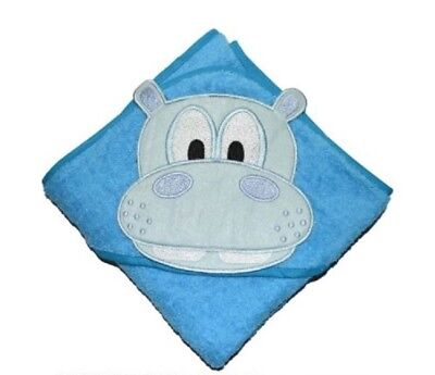 100 % PURE COTTON Baby Hooded Bath towel  ** BLUE HIPPO **
