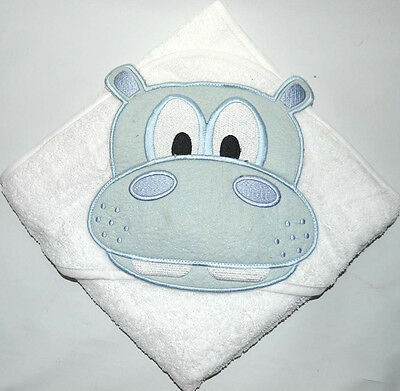 100 % PURE COTTON Baby Hooded Bath towel ** WHITE HIPPO ** 75cm X 75cm