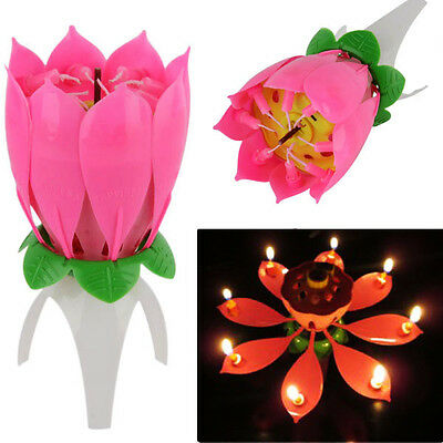 Romantic Musical Lotus Flower Lights Happy Birthday Party Cake Candles Gift NEW