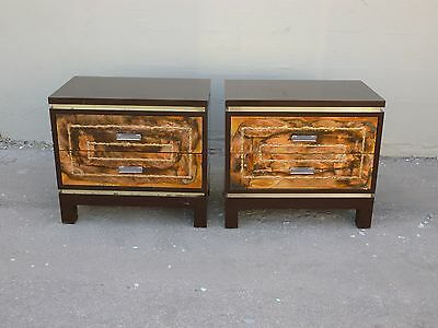 Wild 70's Brutalist Paul Evans Style Copper And Laminate Nightstands - P