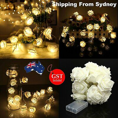 2M  20LED  Rose Flower Battery Operated Lights Fairy String Wedding Party Xma De