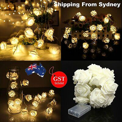 New 2M Rose Flower Battery Operated Lights 20 LED Fairy String Wedding Party Xma