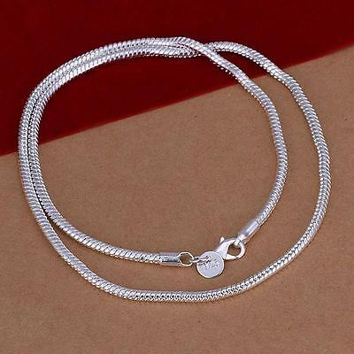 Unisex 3MM Simple 925 Sterling Silver Snake Chain Necklace For Man Women Gift