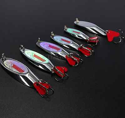 Fishing Spoon Metal Lure Treble Hook Feather Spinner Bait Bass Trout Salmon Fish