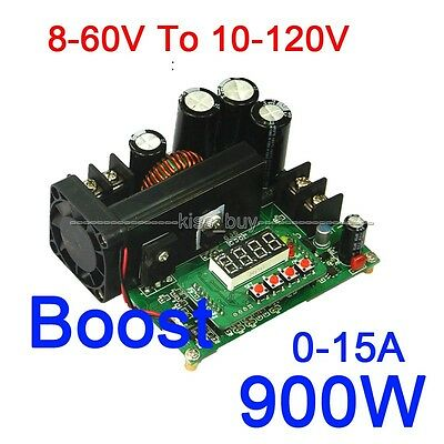 DC-DC 900W 0-15A 8-60V To 10-120V NC Boost Power Supply Module CC/CV LED Driver