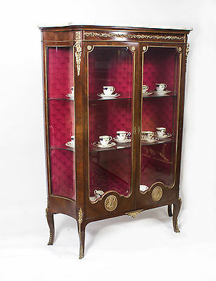 Antique French Kingwood Marble Top Vitrine Cabinet c.1900