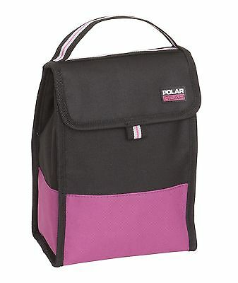 Polar Gear Folding Cool Bag | Coolbag | Lunch Bag | Packed Lunch | Black & Pink