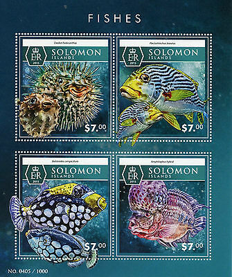 Solomon Islands 2015 MNH Fishes 4v M/S Fish Marine Porcupinefish Triggerfish