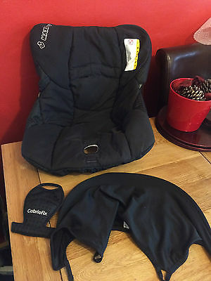 Maxi Cosi Cabrio/fix REPLACEMENT ** SEAT COVER, CROTCH PAD & HOOD** IN BLACK