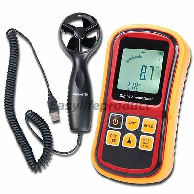 Air Wind Speed Meter Digital Anemometer Thermometer 0~45m/s Velocity Bar Graph