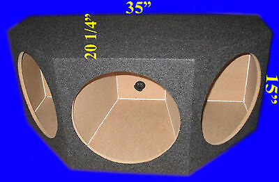 "3 Three Hole 12"" Angled Chambered Grey Subwoofer Sub Enclosure Box"