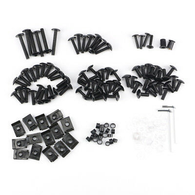 Motorcycle Fairing Body Bolts Kit Fastener Clips Screws Sportbike Black
