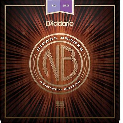 D'Addario NB1152 Nickel Bronze Acoustic Guitar Strings 11-52 custom light gauge