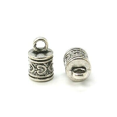 Pack 10 x Antique Silver Tibetan 10 x 16mm Kumihimo Patterned End Caps HA11545