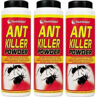 3 X 240G PestShield Ant Killer Powder Cockroaches Carpet Beetles Wasps Woodlice