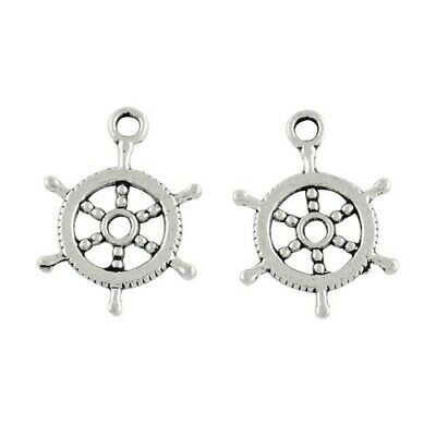 Captain'S Wheel Charm/Pendant Tibetan Antique Silver 19mm  30 Charms Accessory