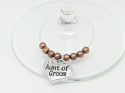 Personalised Bronze Wedding Guest Wine Glass Charms Favours Table Decorations