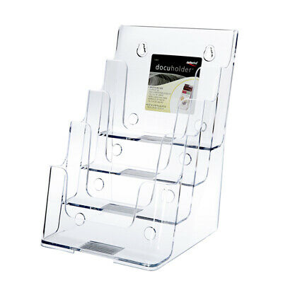 "4 Tier Leaflet Holder Bi-fold 6"" Literature Holder Clear Acrylic Wall Mount14914"