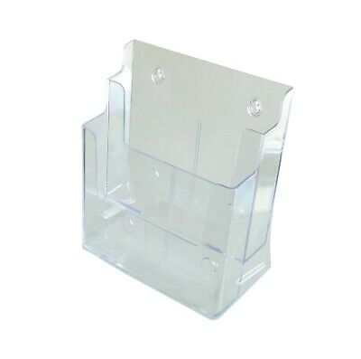 """Two Tier Leaflet Holder 8.5x11"""" Literature Holder Clear Acrylic Wall Mount14916"""