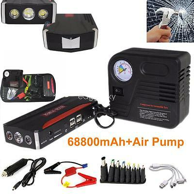 Vehicle Car Jump Starter 68800mAh Power Bank 4 USB Portable Charger + Compressor