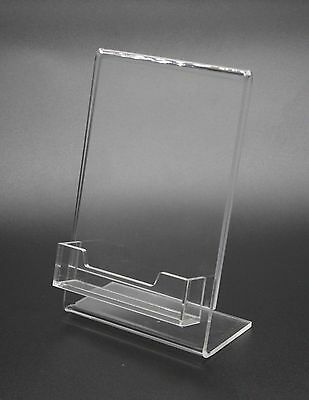 """4x 6""""Clear Acrylic Slanted Sign Holder with Business Card Holder 20045"""