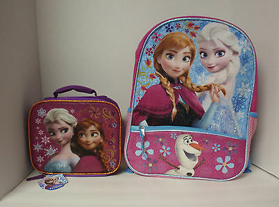Disney Frozen Backpack & Lunch Bag Princess Elsa Anna Large Olaf School Book Bag