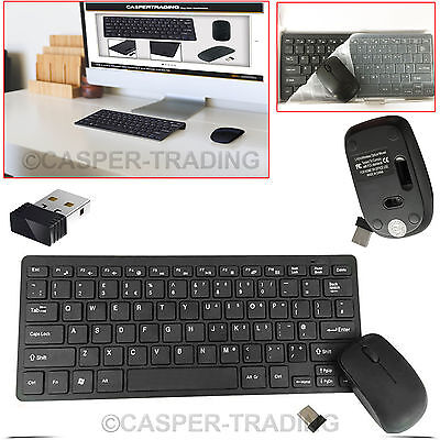 USB 2.4GHz Wireless Cordless Slim Keyboard and Mouse Combo Kit Laptop Tablet PC