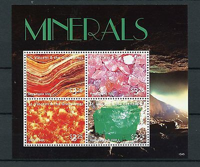 St Vincent & The Grenadines 2015 MNH Minerals 4v M/S Onyx Agate Emerald Citrine