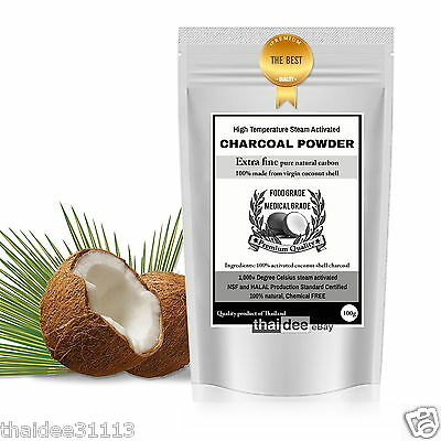 100% PURE FOOD GRADE Highly Ultra Fine Activated Coconut Shell Charcoal Powder