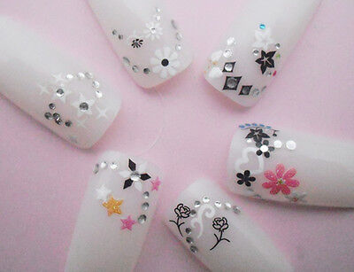 Rhinestones Black White Flowers Butterfly Bows Roses 3D Nail Art Stickers Decals