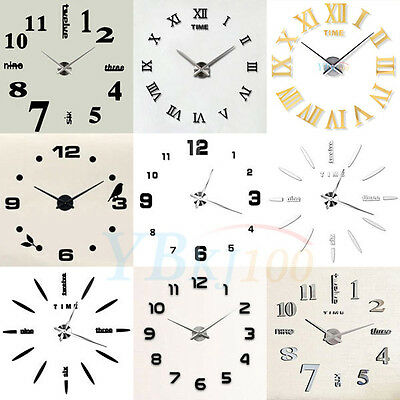 Hot DIY Large Wall Clock Kit 3D Mirror Surface Sticker Home Office Room Decor