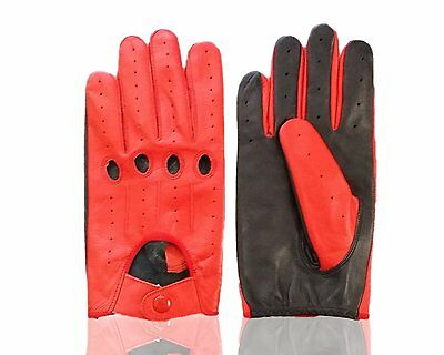 Unlined Leather Driving Gloves in Red and Black FREE SHIPPING
