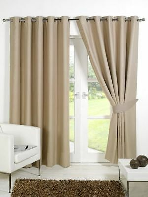 """Supersoft Thermal Faux Silk Blackout Eyelet Curtains Tiebacks Biege 46"""" x 54"""""""