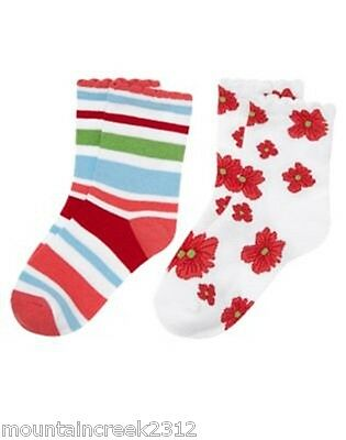 Gymboree Girl's Socks Burst Of Spring Size 3 4 5 7 Striped Floral 2 Pair Kid New